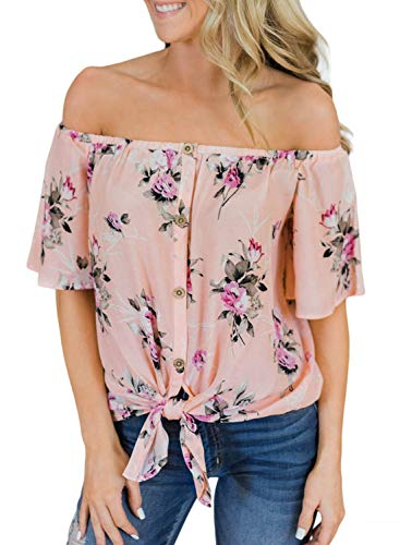 AlvaQ Women Summer Floral Print Off Shoulder Tops Button Down Short Sleeve Loose Tunic Blouse Tshirt Tops Pink Mediunm