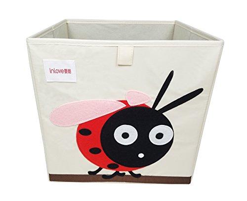 ELLEMIO Cartoon Storage Cube Foldable Toy Cloth Book Organizer Box for Kids 13 Inch (Ladybug)
