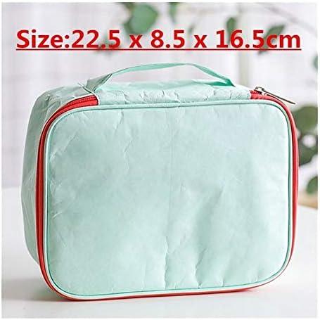 YouNITE 男性デュポンペーパー化粧品袋防水グリーンフレンドリーメイクケースボックス女性旅行トイレタリーは、ストレージ主催ウォッシュポーチをキッティングまで (Color : B Green)