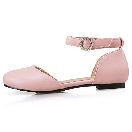 COOLCEPT Mujer Moda Correa de Tobillo Correas Sandalias Plano Cerrado Zapatos Tamano Rosado