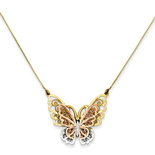 14k Yellow Rose Gold Butterfly Chain Necklace Pendant Charm Animals/insect Fine Jewelry For Women Gift Set