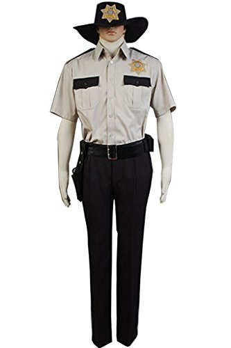 Rick Grimes Costume Kids (mingL Men's The Walking Dead Rick Grimes Sheriff Uniform Cosplay Costume Outfit Suit)