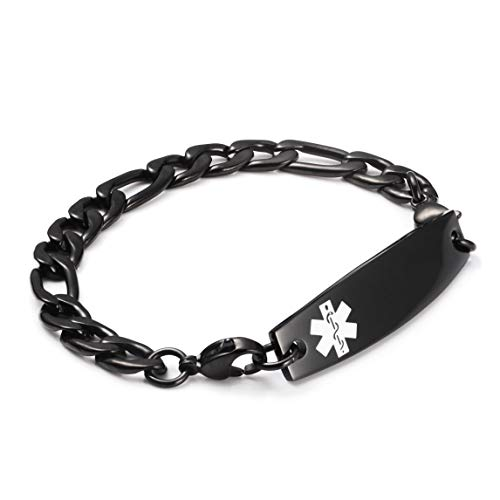 (linnalove-Black Figaro Chain lnterchangeable Medical Bracelets-Free Custom)