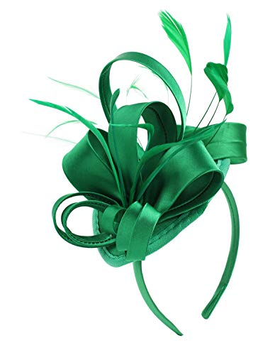 Felizhouse Fascinator Hats for Women Ladies Feather Cocktail Party Hats Bridal Headpieces Kentucky Derby Ascot Fascinator Headband (#1 Satin Green) ()