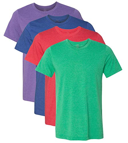Kennedy Todd 4 Pack Men's Heather Cotton Poly T-Shirt (Primary Colors, X-Large)