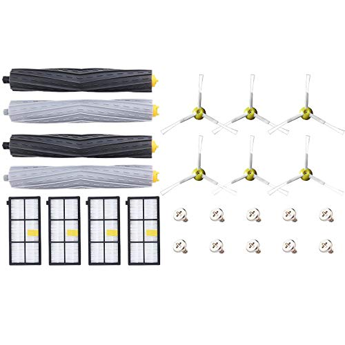 Xigeapg Replacement Kit for Roomba 800 900 Series 805 860 870 871 880 890 960 980 Robotic Vacuum Cleaner Accessory with 4 Roller, 4 Hepa Fliter and 6 Side Brushes 10 Screws