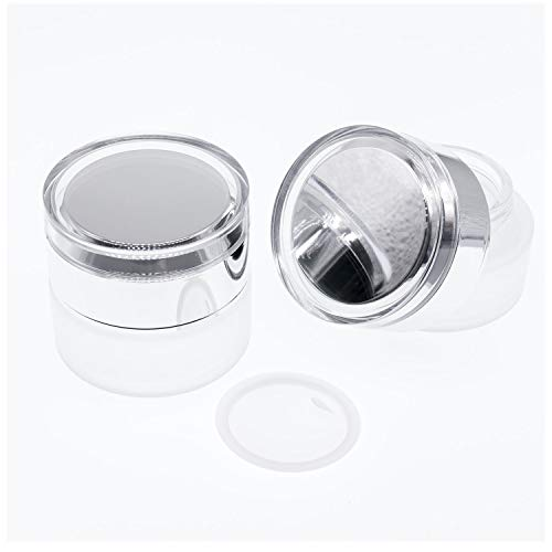 AKOAK 2 Pcs Refillable Frosted Glass Cosmetic Cream Jar Bottle Container,High-end Separate Bottles for Cosmetics with Silver Shiny Lid,Capacity 30g/1oz