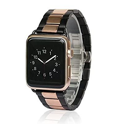 Apple Watch Band, AWStech 42mm Stainless Steel Replacement Smart Watch Band Wrist Strap Bracelet with Butterfly Buckle Clasp for Apple Watch All Models - Black Rosegold
