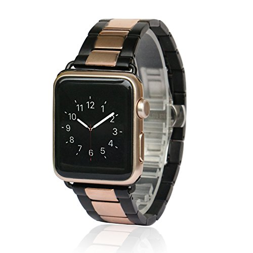 AWSTECH New 38mm Stainless Steel Replacement Smart Watch Band Wrist Strap Bracelet with Butterfly Buckle Clasp for Apple Watch All Models - Black Rosegold