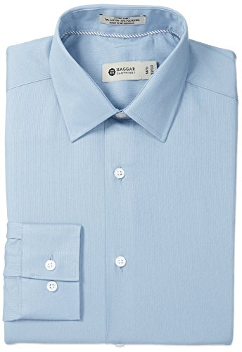 - Haggar Men's Tonal Stripe Point Collar Regular Fit Long Sleeve Dress Shirt, Light Blue, 14.5x32/33