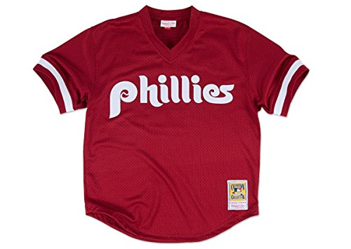 MLB Mitchell & Ness Philadelphia Phillies Lenny Dykstra 1991 Cooperstown Collection Authentic Practice Jersey - Maroon (XXX-Large)