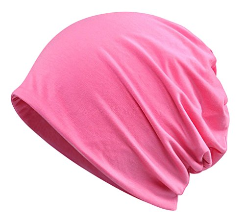 EachEver Womens Summer Cotton Beanie Hat Baggy Slouchy Chemo Cap Turban Infinity Scarf Rose