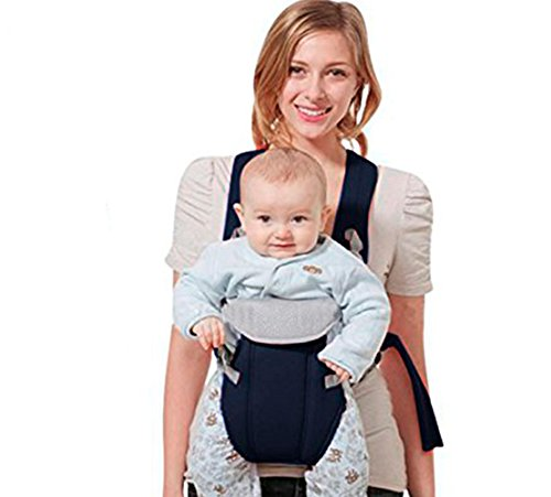 Cheap Ergonomic Baby Carrier for Newborn for All Seasons by valencia colors, 4 Comfortable & Safe Positions for Infant Blue Color