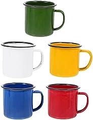 FRCOLOR 5pcs Enamel Camping Mug Set Campfire Mugs Hiking Backpacking Tea Mugs with Handle for Indoor Outdoor A