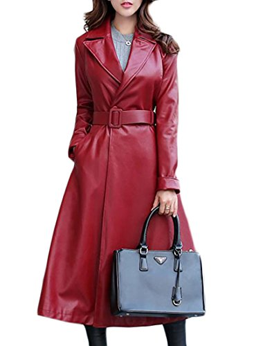 Red Leather Coat - Papijam Womens Slim Lapel Belt Faux Leather Moto Trenchcoat Overcoat Wine Red X-Large