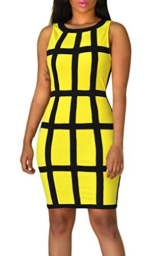 729c73f720db Senza Vestiti Girocollo Matita Vestitini Per Partito Donna A Sera Dresses  Corti Slim Abiti Giallo Mini Cocktail Abbigliamento Estivi ...