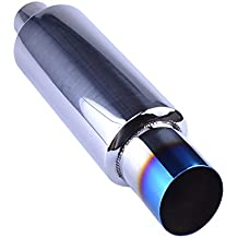 "Evilenergy 2"" Inlet 3"" Outlet Exhaust Tip Burnt Muffler Universal 14.8"" Length"
