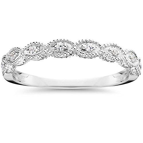 1/10ct Vintage Diamond Wedding Ring 14K White (Vintage Cut Diamond)