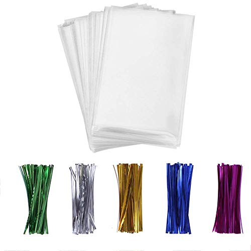 Cellophane Bags,200pcsTreat Bags with 200 Twist Ties 5 Mix Colors Good for Bakery, Cookies, Candies,Dessert,Popcorn (4