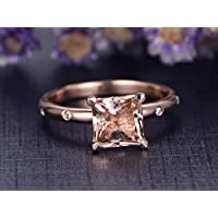 7mm Natural Princess Cut Pink Morganite Engagement Ring Solitaire Solid 14k Rose Gold Diamond Wedding Rings Antique Anniversary Gift Bridal Ring Set Unique Style Birthstone