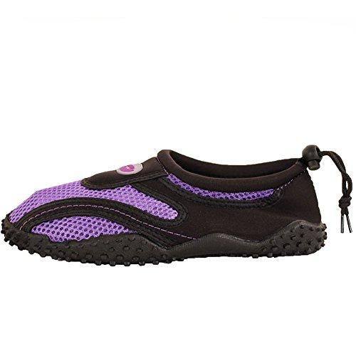 Wave Women's Drawstring Slip on Aqua Socks Water Shoes Purple SjZZGNetrQ