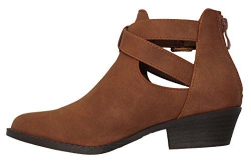 MVE Schuhe Cute Western Cowboy Bootie - Damen Spitzschuh Slip On Ankle Boot - Zurück Reißverschluss Low Heel Tan * j