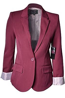 Women's Cuffed Sleeve One Button Boyfriend Blazer