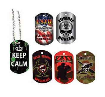 Zombie Dog - 18 Zombie Dog Tags - Multipack of Zombie Party Favors