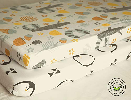 Pickle & Pumpkin Premium Crib Sheets   100% Organic Jersey Cotton Fitted Sheet for Baby Boy or Baby Girl   2 Pack   Nursery Bedding for Standard Crib Mattress & Toddler Mattress   Perfect Gift