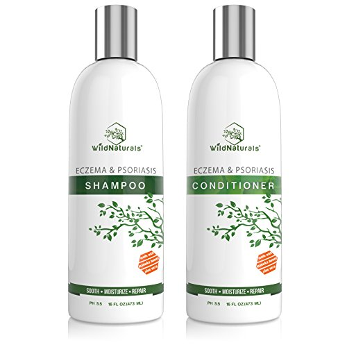 Wild Naturals Eczema Psoriasis Shampoo - Conditioner Set 16oz, 98% Natural, 80% Organic, Sulfate Free, Soothing Anti Dandruff, Flaky, Itchy, Dry Scalp Treatment for Seborrheic Dermatitis, Damaged Hair