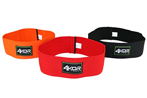 4KOR Fitness Resistance Loop Band Set, Perfect for Crossfit, Yoga, Physical Therapy, and Booty Building (3 Piece Set Hip Bands)