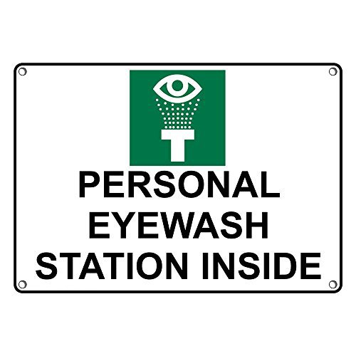 Weatherproof Plastic Personal Eyewash Station Inside Sign with English Text and Symbol