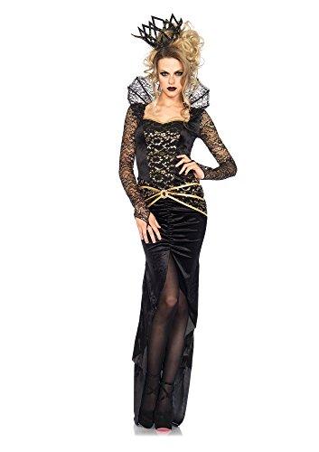 Leg Avenue Women's 2 Piece Deluxe Evil Queen Costume, Black/Gold, -