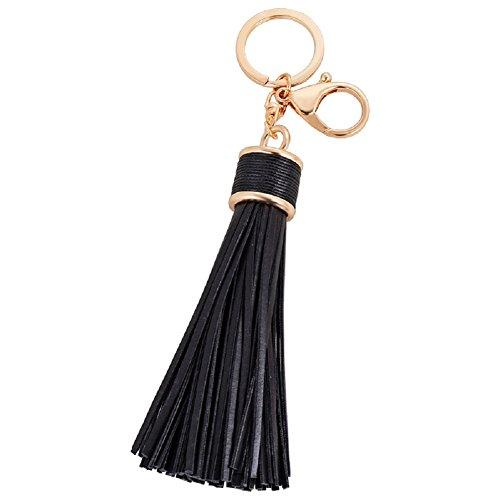 CHMING Women Leather Tassels Keychain Car Key Rings Handbag Charm by CHMING