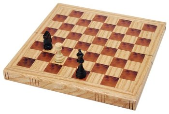WE Games Book Style Folding Chess Set - Oak Wood Board 11 in. by Wood Expressions