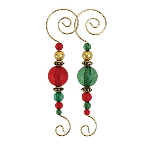 Old World Christmas Ornaments: Beaded Hooks, Set of 6 Glass Blown Ornaments for Christmas Tree