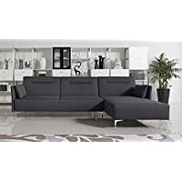 Limari Home Mariah Collection Modern Living Room Fabric Upholstered Sofa Bed Sectional, Grey