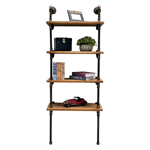 Furniture Pipeline Industrial Tall Wall Mounted 4-Shelf Open Etagere Pipe Bookcase, Metal with Reclaimed Wood Finish, Rustic Bronze with Light Brown Stained ()