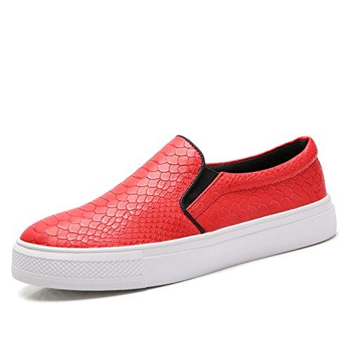 Rouge Mode Femme Mocassin Simplicité Chaussure Loafers à Cuir Plat Enfiler Talon en JRenok 7qUwYzz