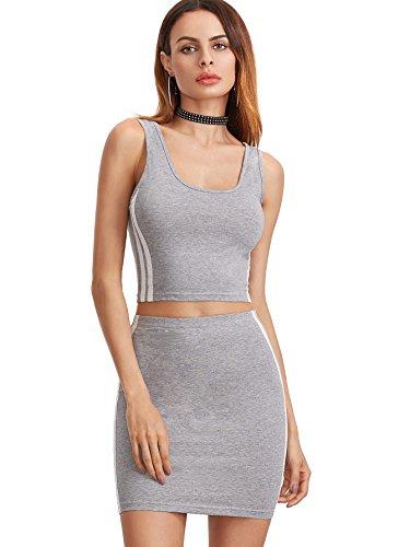 Romwe Women's 2 Piece Crop Tank Top with Skirt Set Sleeveless Bodycon Mini Dress Gray ()