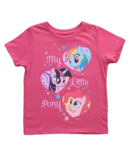 My Little Pony 3 Ponies Hearts Pink Sparkle Toddler's T-Shirt (Toddler 5/6T)