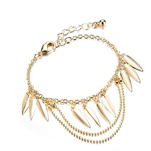 - GAJSDJHN Bracelet Beach Gold Color Leaf Pendant Layered Bracelet Bangle Set for Women Metal Oval Chain Bracelet