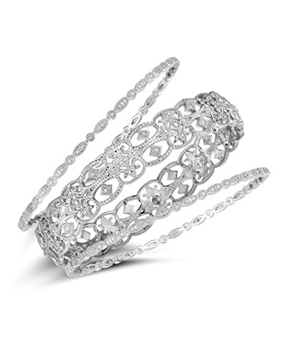 NATALIA DRAKE Blowout Sale 1/4 cttw 3-Piece Diamond Bangle in Sterling Silver