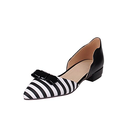 Balamasa Ladies Two-toned Square Heels Arcos Urethane Flats Zapatos Black