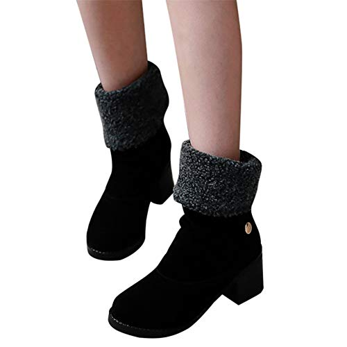 Halloween Parties In Miami 2019 (Ankle Booties for Women Low Heel,Winter Boots for Women Stylish Fold Suede Chunky Mid Heel Round Toe Short Snow Ankle)