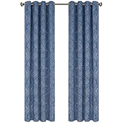 Damask Print Blackout Curtains Vintage Medallion Floral Style Grommet Top Room Darkening Home Decoration Window Drapes for Living Room Bedroom Kitchen 84 inch Long Blue 1 Pair Draperies by GD