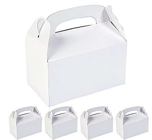 Adorox 12 Assorted White Color Cardboard Favor Boxes Treat Goody Bags Children Birthday Party Event Gift -