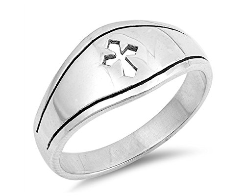 - CloseoutWarehouse Sterling Silver Cutout Medieval Cross Fashion Ring Size 8