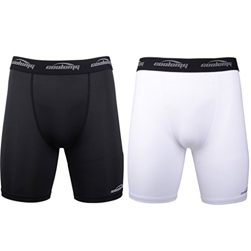 Legendfit Men's Sport Athletic Compression Shorts Underwear Boxer Brief (Pack of 2) Black+White Large
