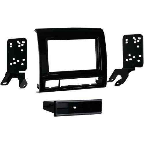 - 1 - 2012 & Up Toyota Tacoma Single-DIN Installation Kit, ISO DIN head unit provision with pocket, Painted matte black, 99-8235B